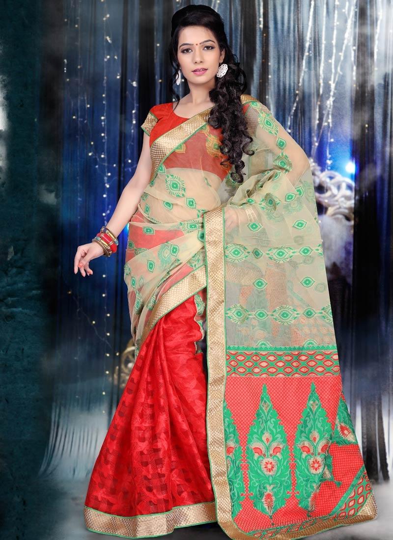 Specialised Red Color Jacquard Half N Half Party Wear Saree