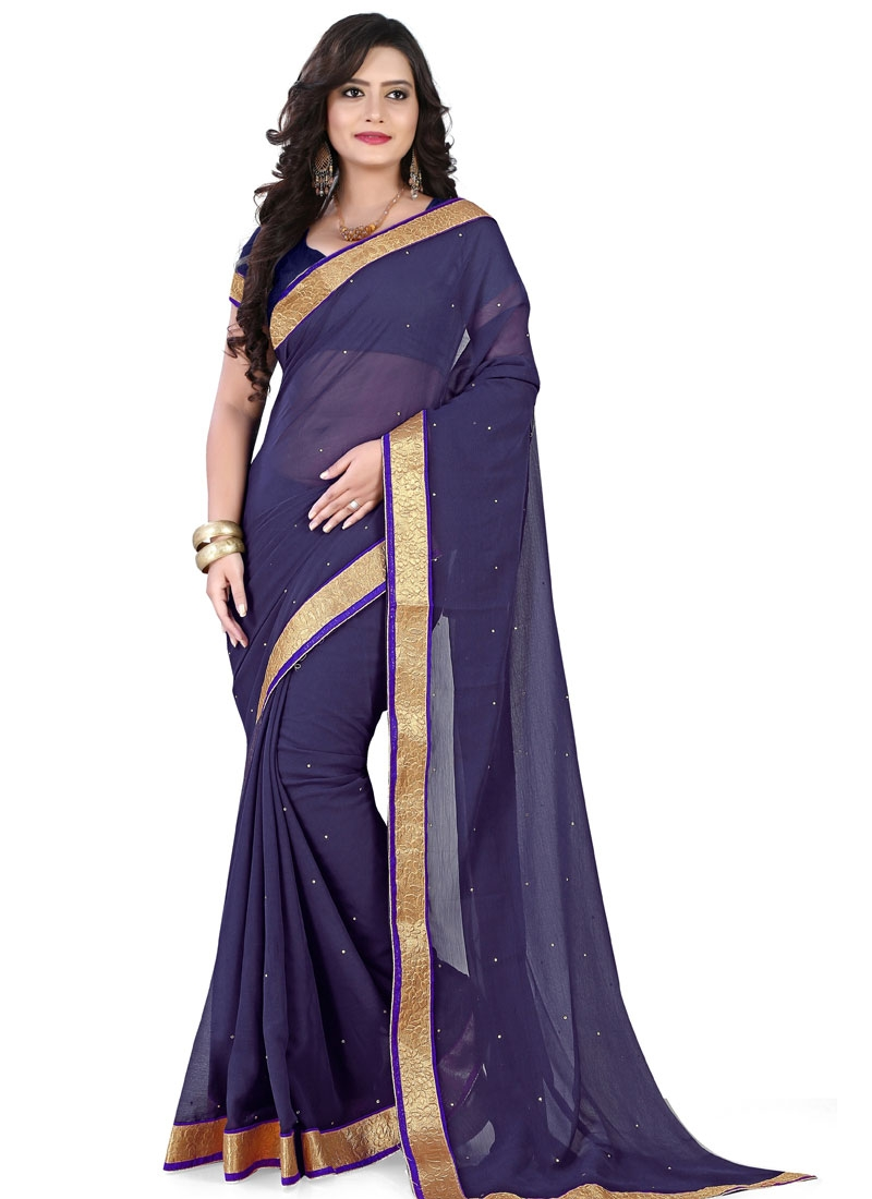 Specialised Resham Work Faux Chiffon Casual Saree