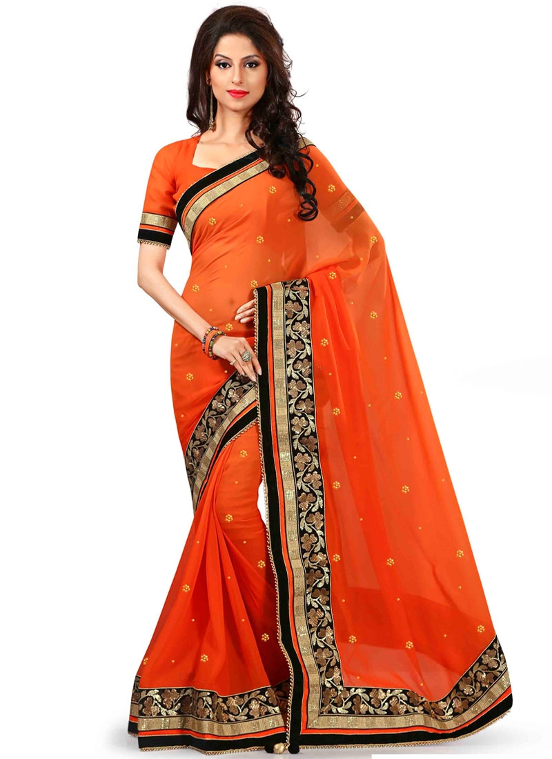 Specialised Sequins And Beads Work Designer Saree