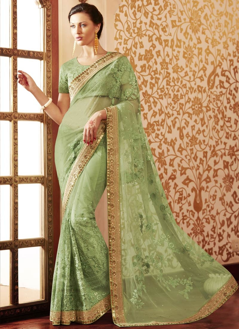 Specialised Sequins And Lace Work Wedding Saree