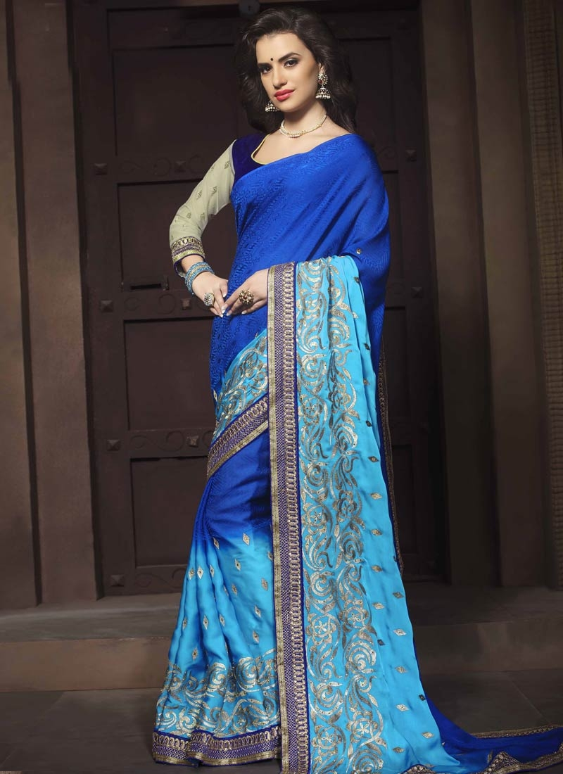 Specialised Stone And Lace Work Designer Saree