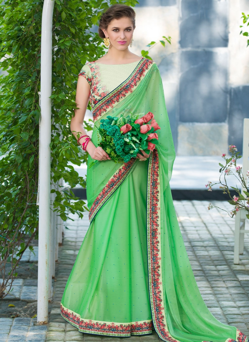 Specialised Stone And Lace Work Party Wear Saree
