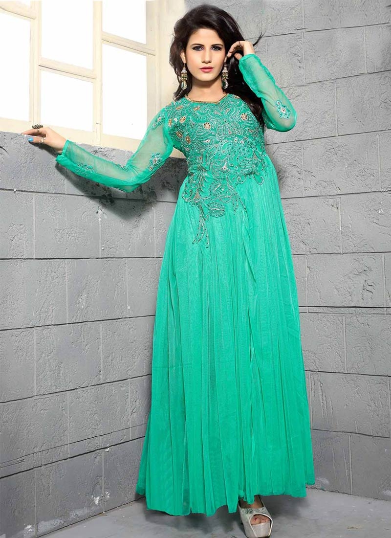 Specialised Stone Work Net Party Wear Readymade Gown