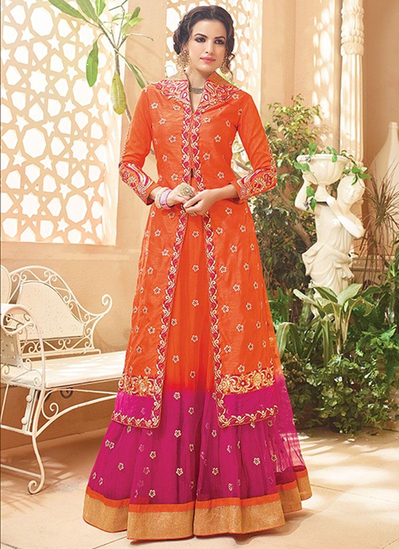 Spectacular Art Silk Kameez Style Designer Lehenga Choli