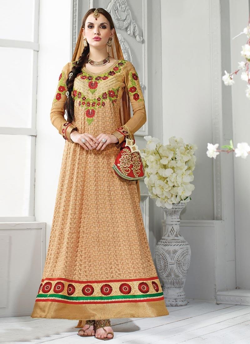 Spectacular Beige Color Floral Work Georgette Wedding Salwar Suit