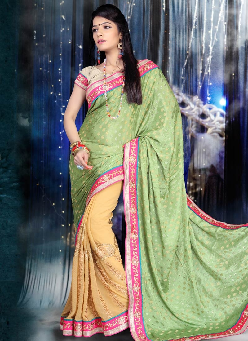 Spectacular Chiffon Satin And Faux Chiffon Half N Half Party Wear Saree