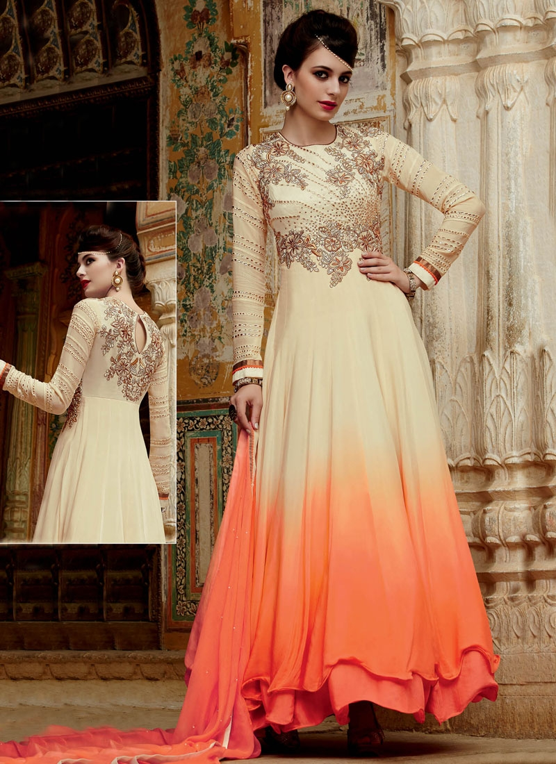 Spectacular Cream Color Stone Work Long Length Designer Suit