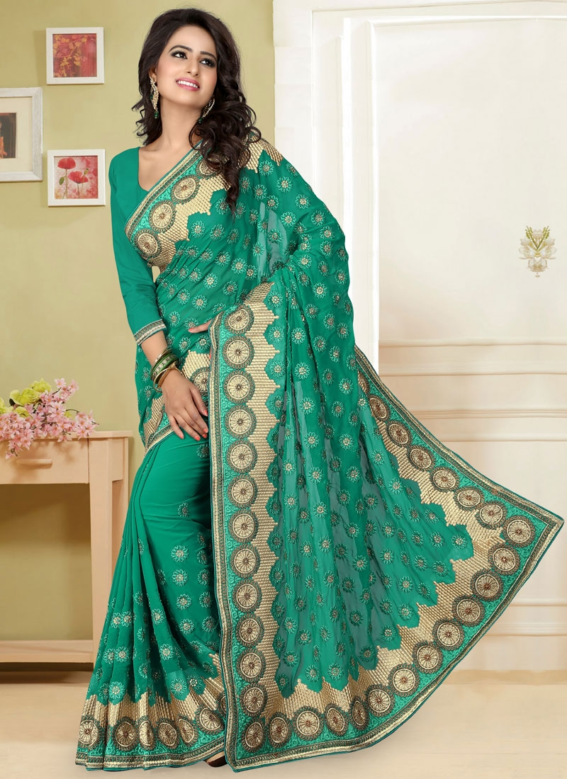 Spectacular Faux Georgette Resham Work Wedding Saree
