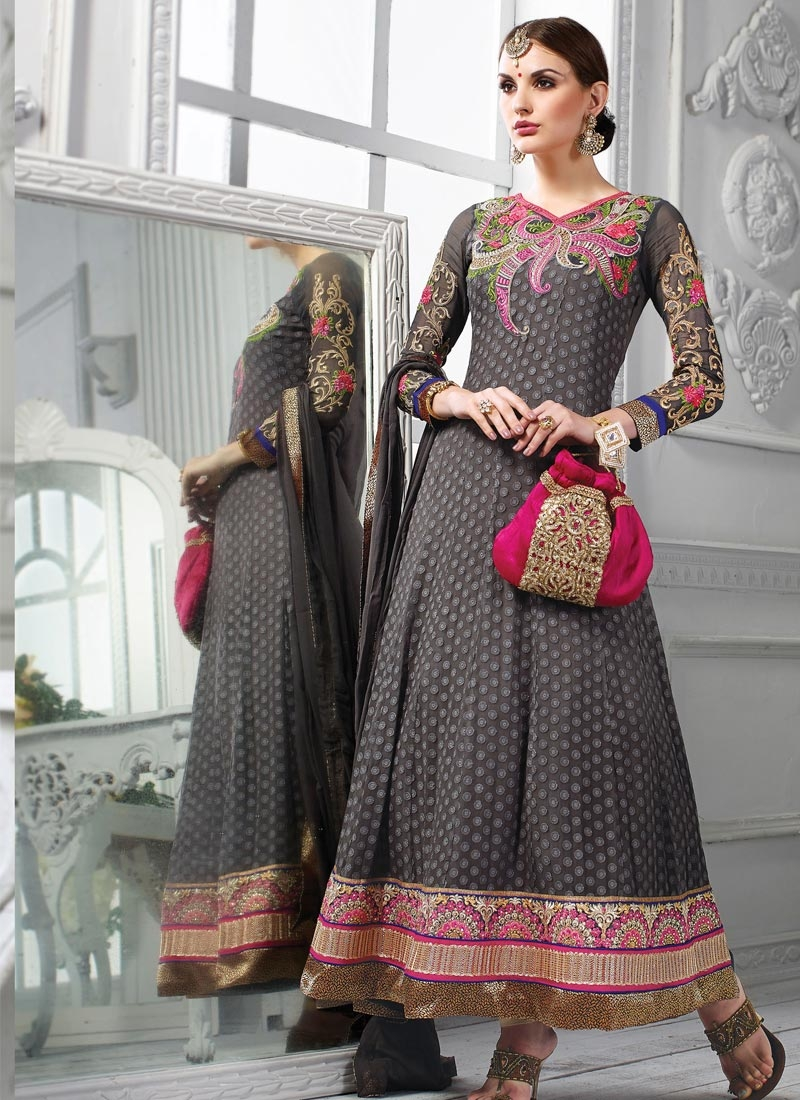 Spectacular Gray Color Georgette Wedding Salwar Kameez