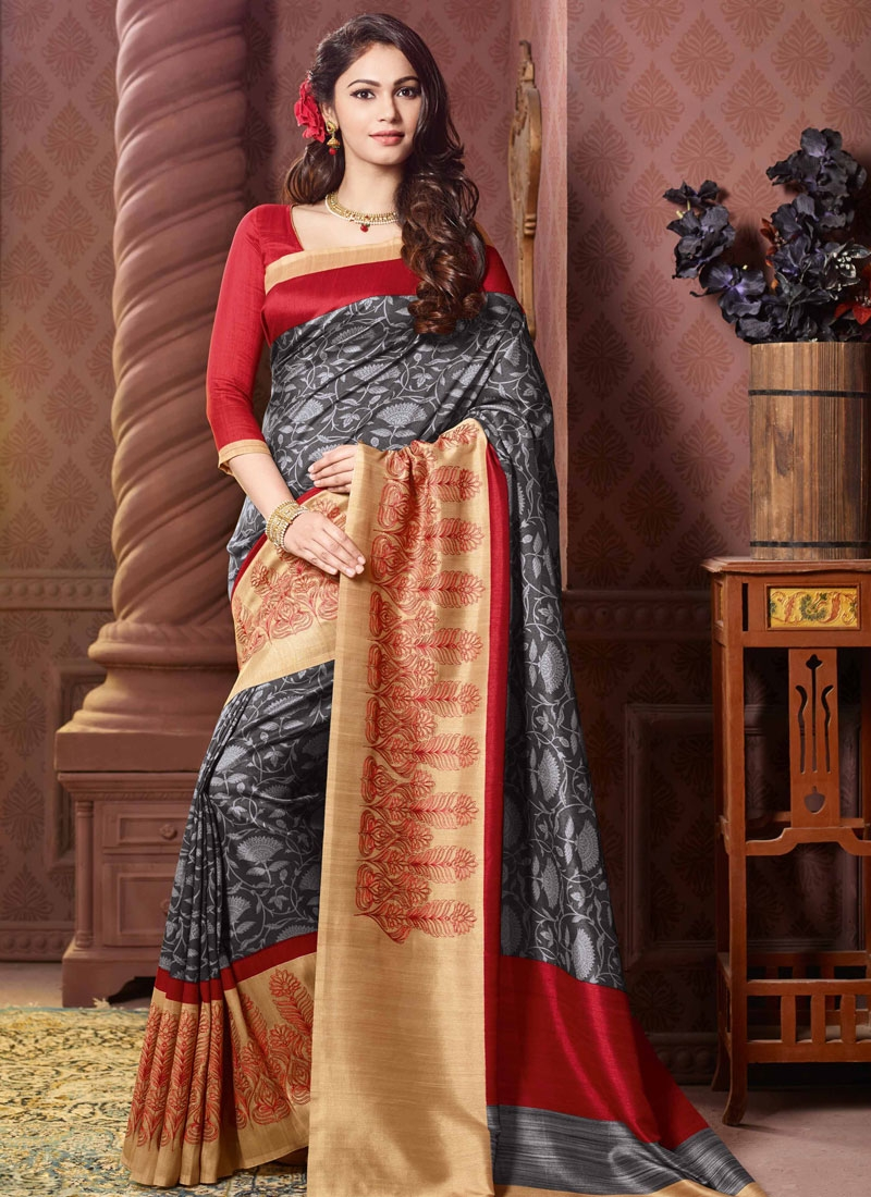 Spectacular Grey And Cream Color Party Wear Saree