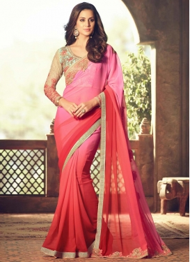 Spectacular  Hot Pink and Red Embroidered Work Designer Contemporary Style Saree