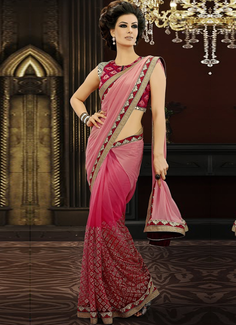 Spectacular Hot Pink Color Net Designer Saree