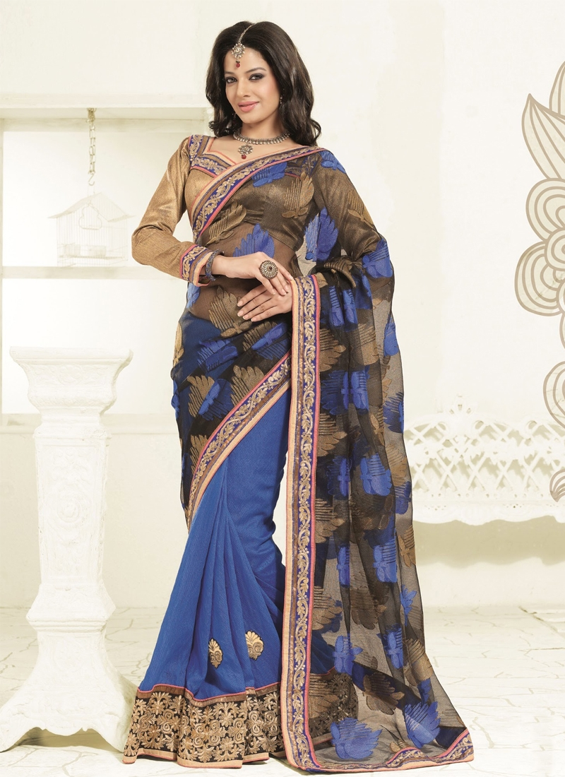Spectacular Lace Enhanced Half N Half Party Wear Saree