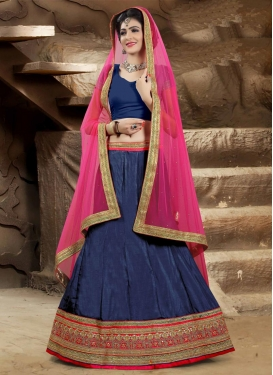 Spectacular Lace Work Bhagalpuri Silk Navy Blue and Rose Pink A - Line Lehenga For Ceremonial