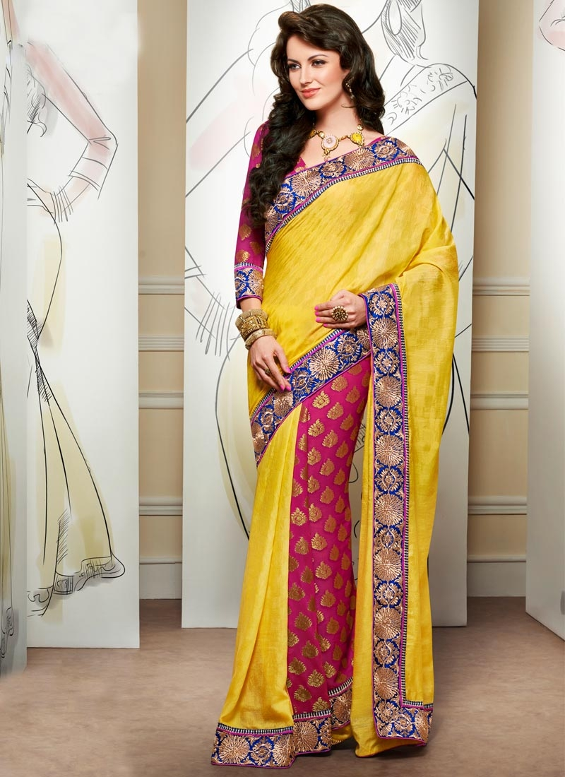 Spectacular Lace Work Yellow Color Half N Half Party Wear Saree