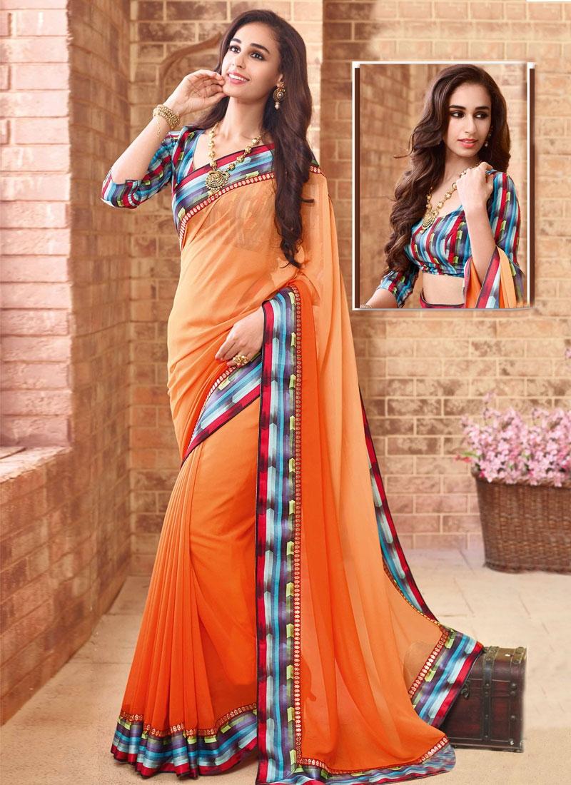 Spectacular Orange Color Lace Work Party Wear Saree