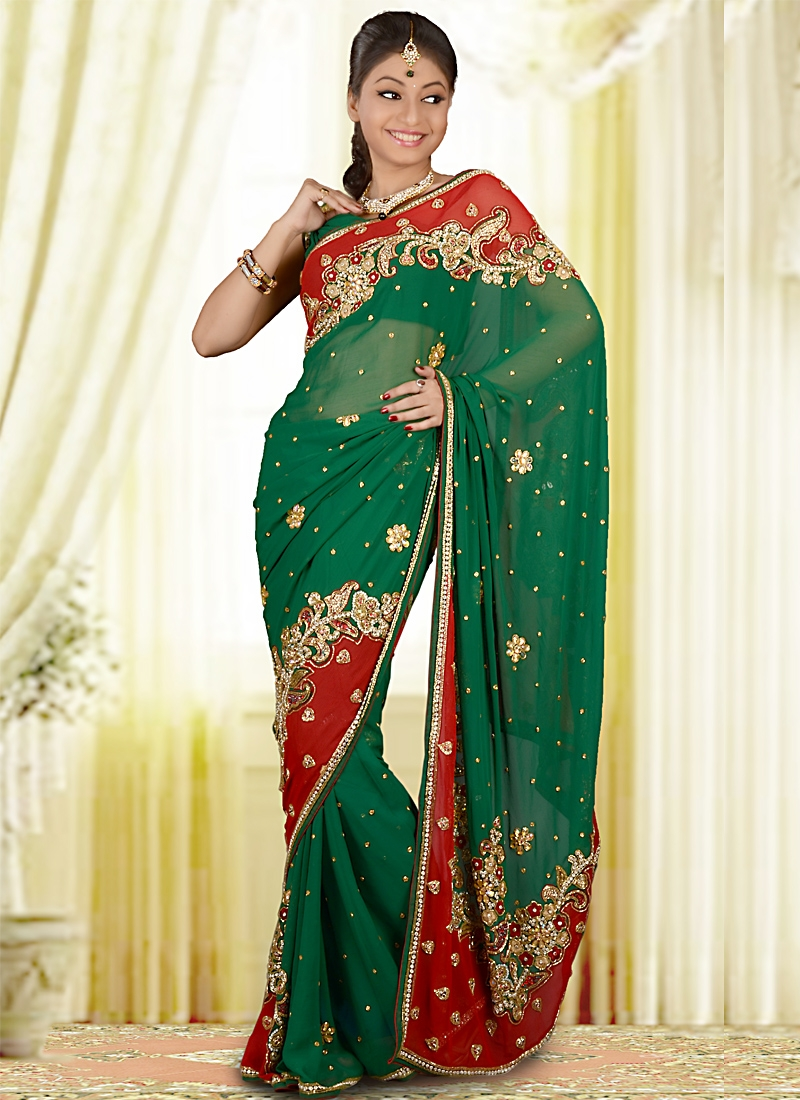 Spectacular Red And Sea Green Chiffon Saree