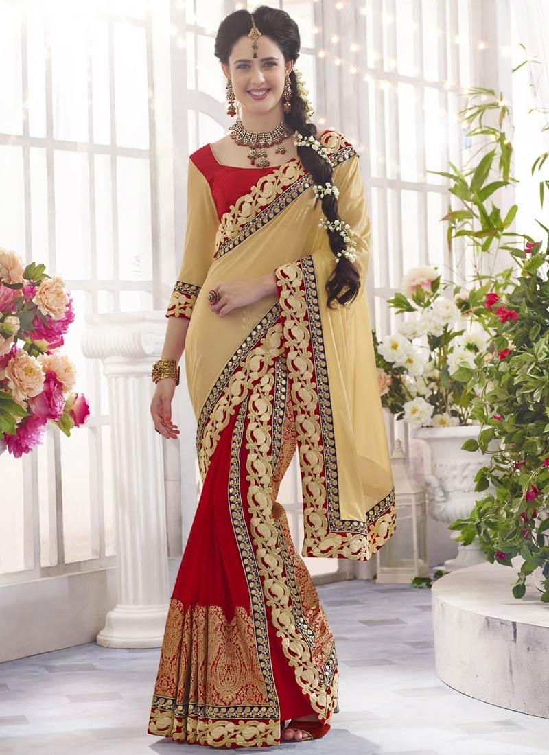 Spectacular Red Color Lace Work Half N Half Designer Saree