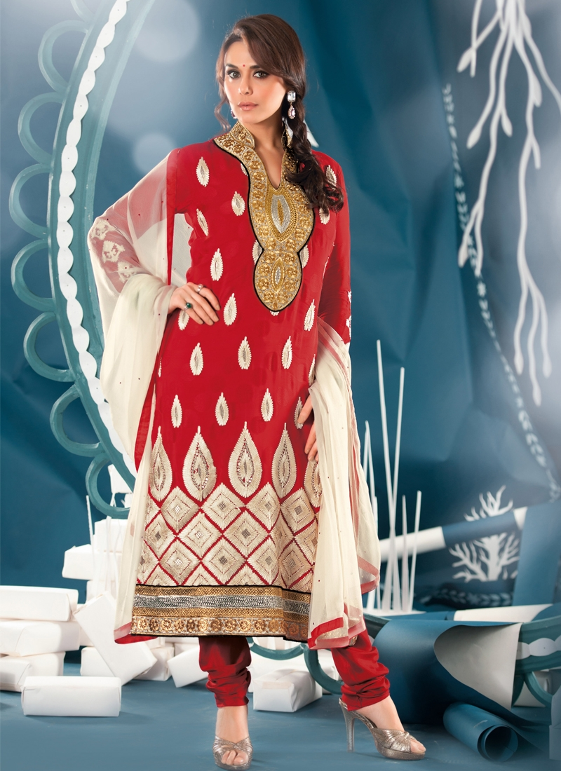 Spectacular Red Color Party Wear Salwar Kameez