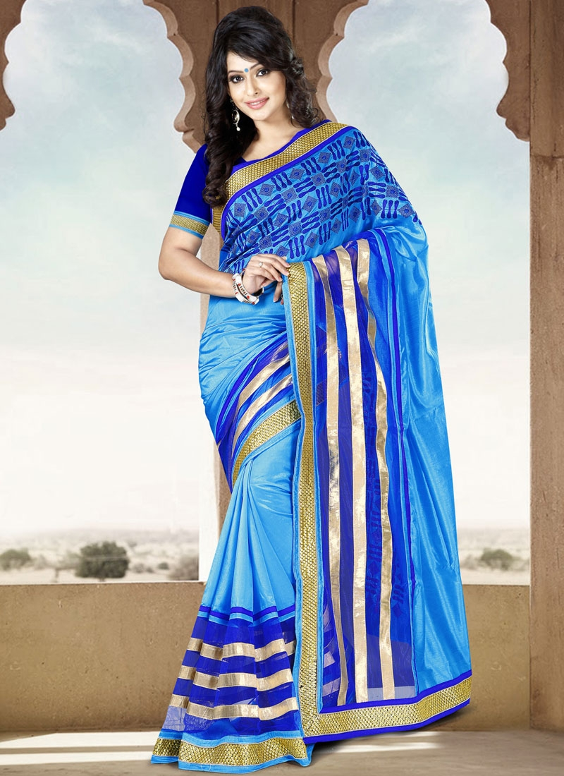 Spectacular Resham And Lace Work Party Wear Saree