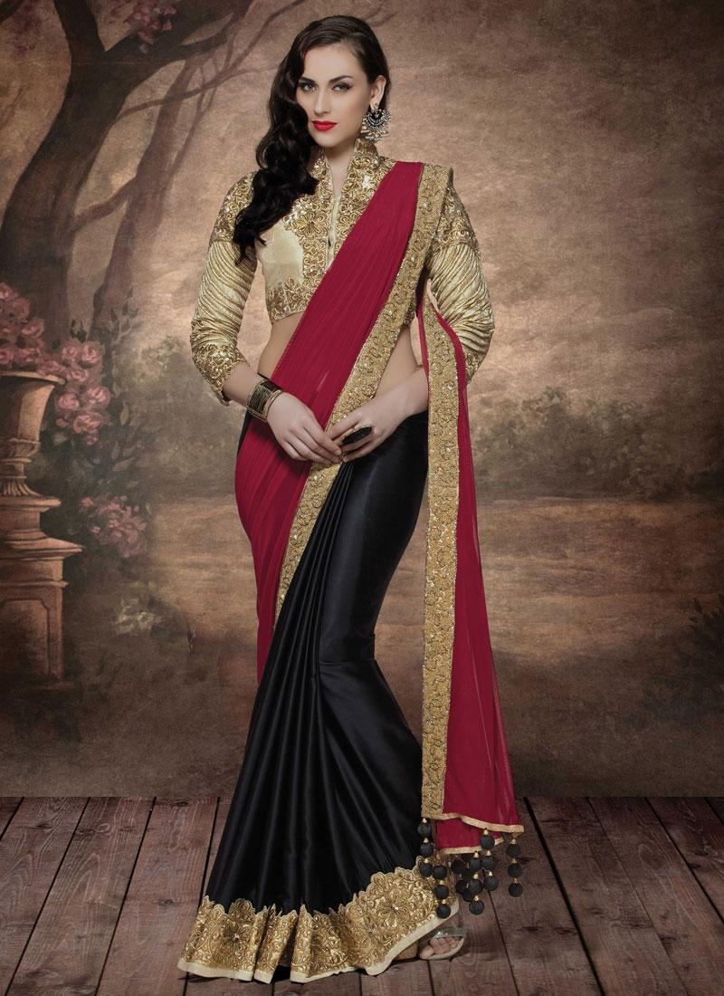Spectacular Sequins Work Half N Half Designer Saree