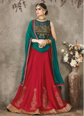 Spectacular Silk Red and Sea Green Embroidered Work Trendy Lehenga