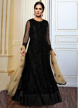 Spectacular Stone Work Black Color Floor Length Designer Suit