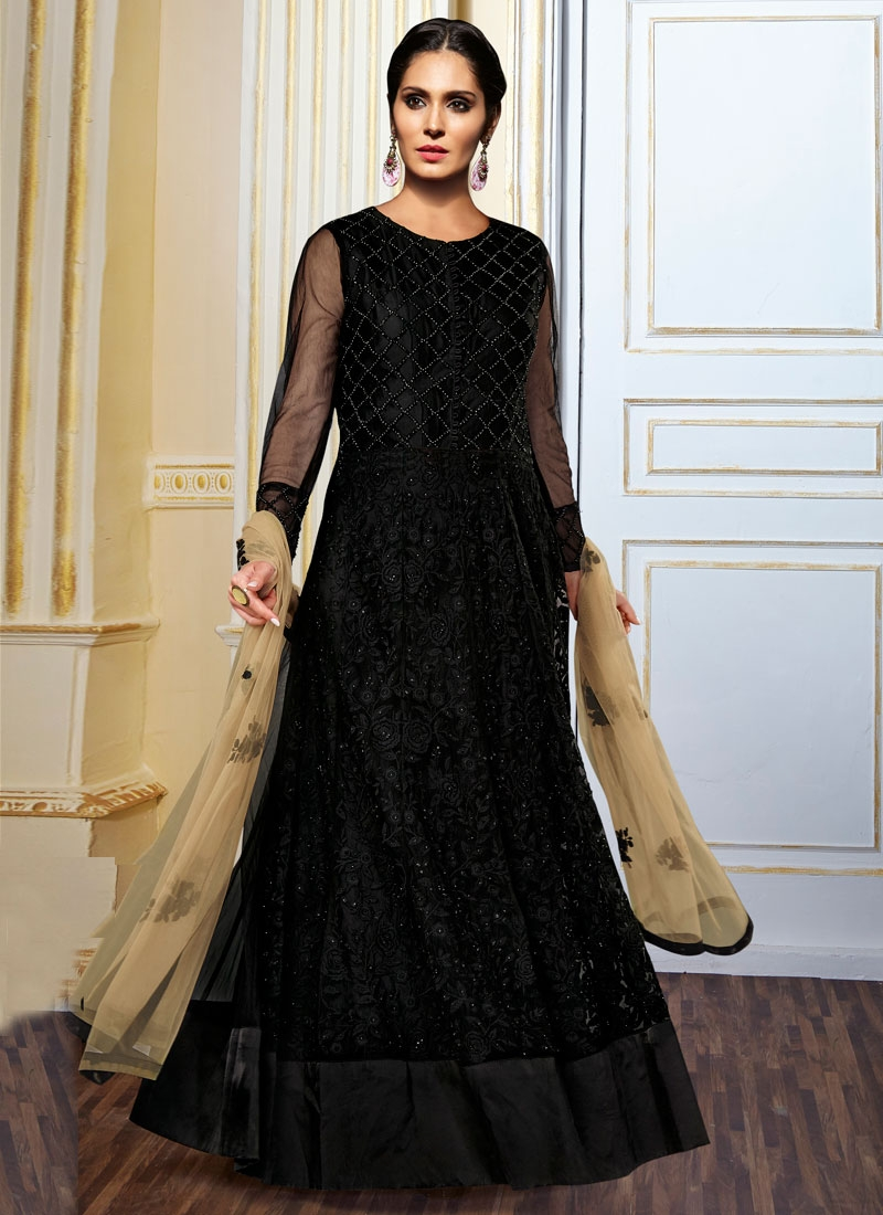Spectacular Stone Work Black Color Floor Length Designer Suit