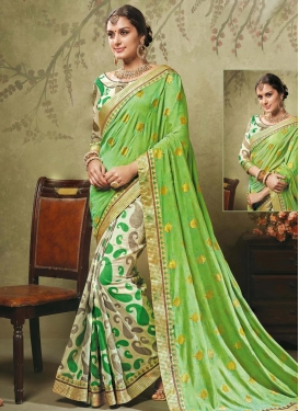 Spellbinding  Art Silk Half N Half Trendy Saree For Ceremonial