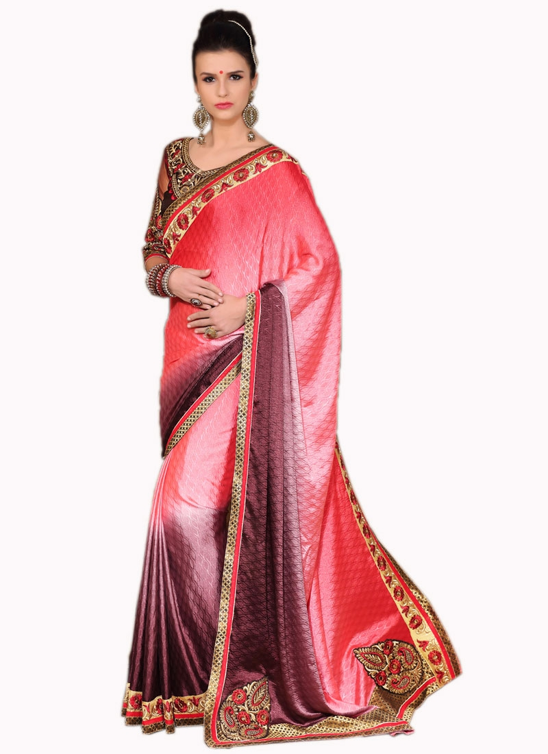 Spellbinding Booti And Lace Work Party Wear Saree