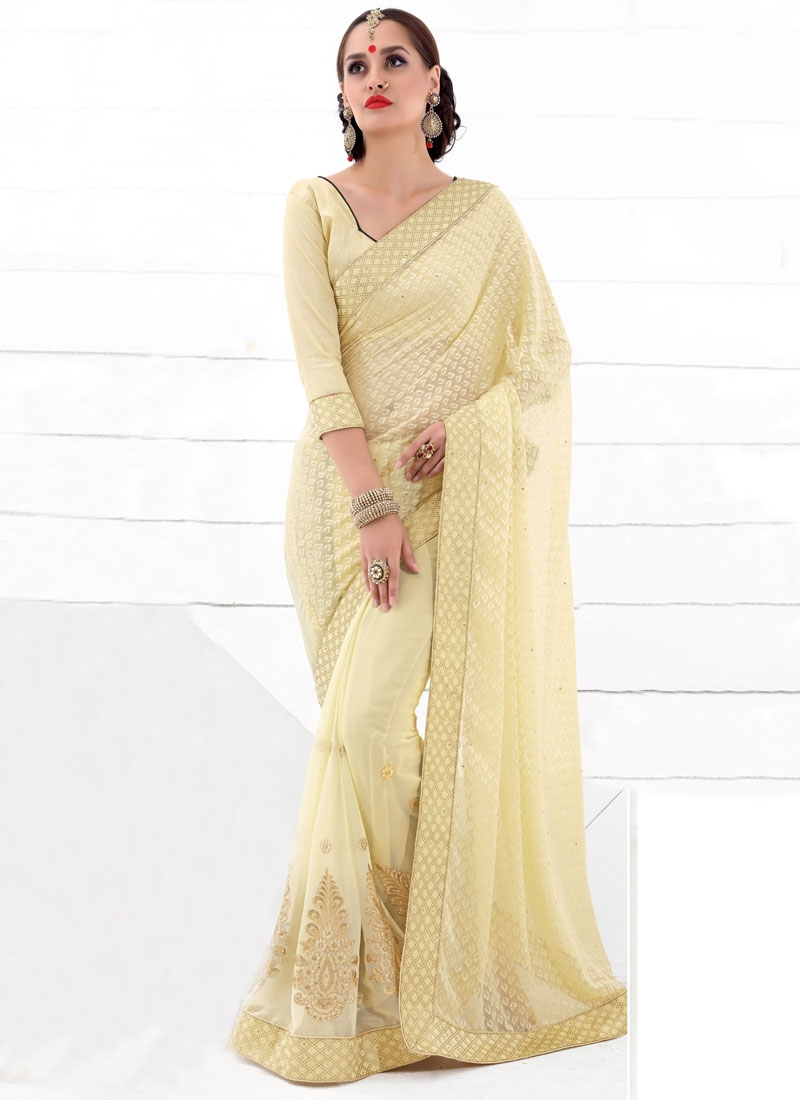 Spellbinding Cream Color Brasso Georgette Party Wear Saree
