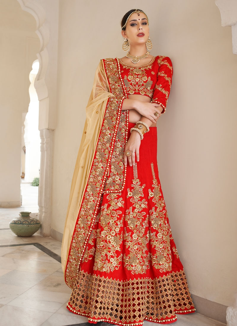 Spellbinding Cut Work Red Color Bridal Lehenga Saree
