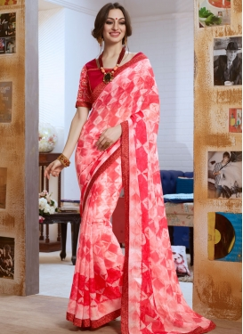 Spellbinding Digital Print And Lace Work Party Wear Saree