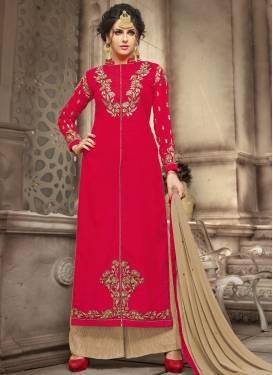 Spellbinding  Embroidered Work Palazzo Straight Salwar Kameez For Ceremonial