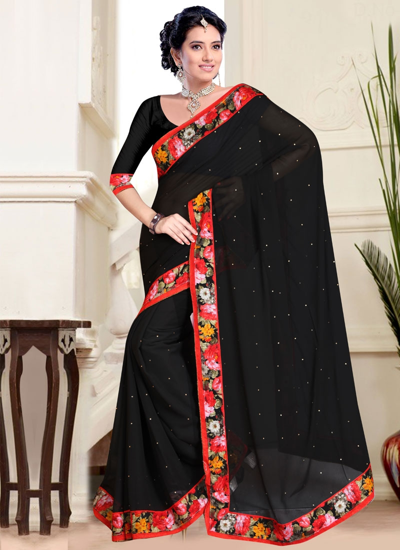 Spellbinding Faux Chiffon Black Color Casual Saree