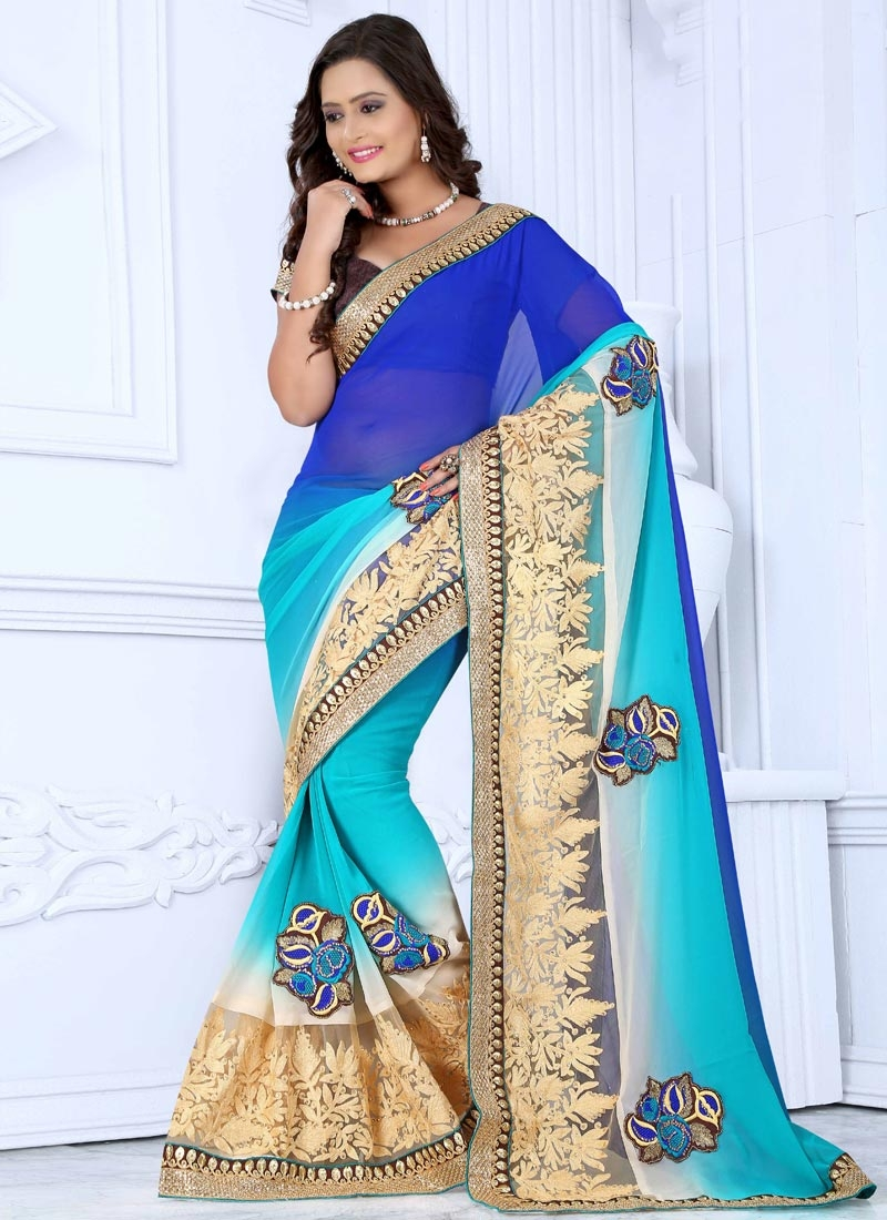 Spellbinding Faux Georgette And Net Designer Saree