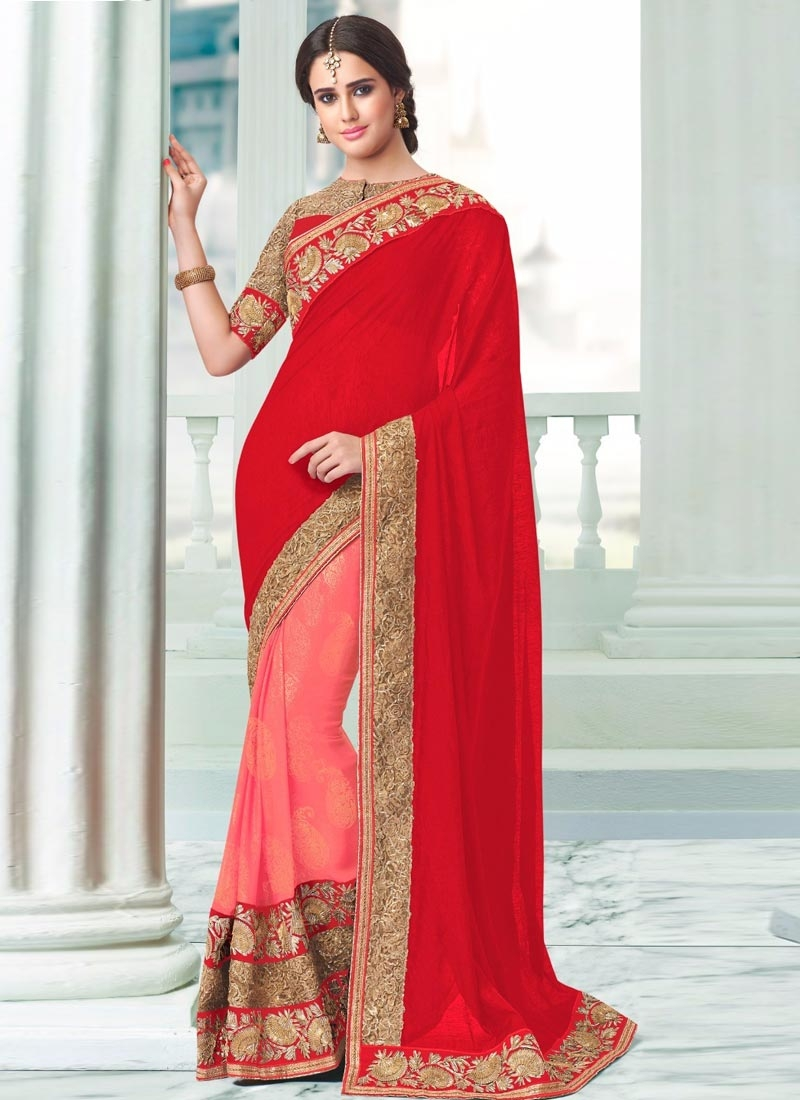Spellbinding Faux Georgette Half N Half Party Wear Saree