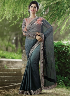 Spellbinding Jacquard Silk And Net Designer Saree