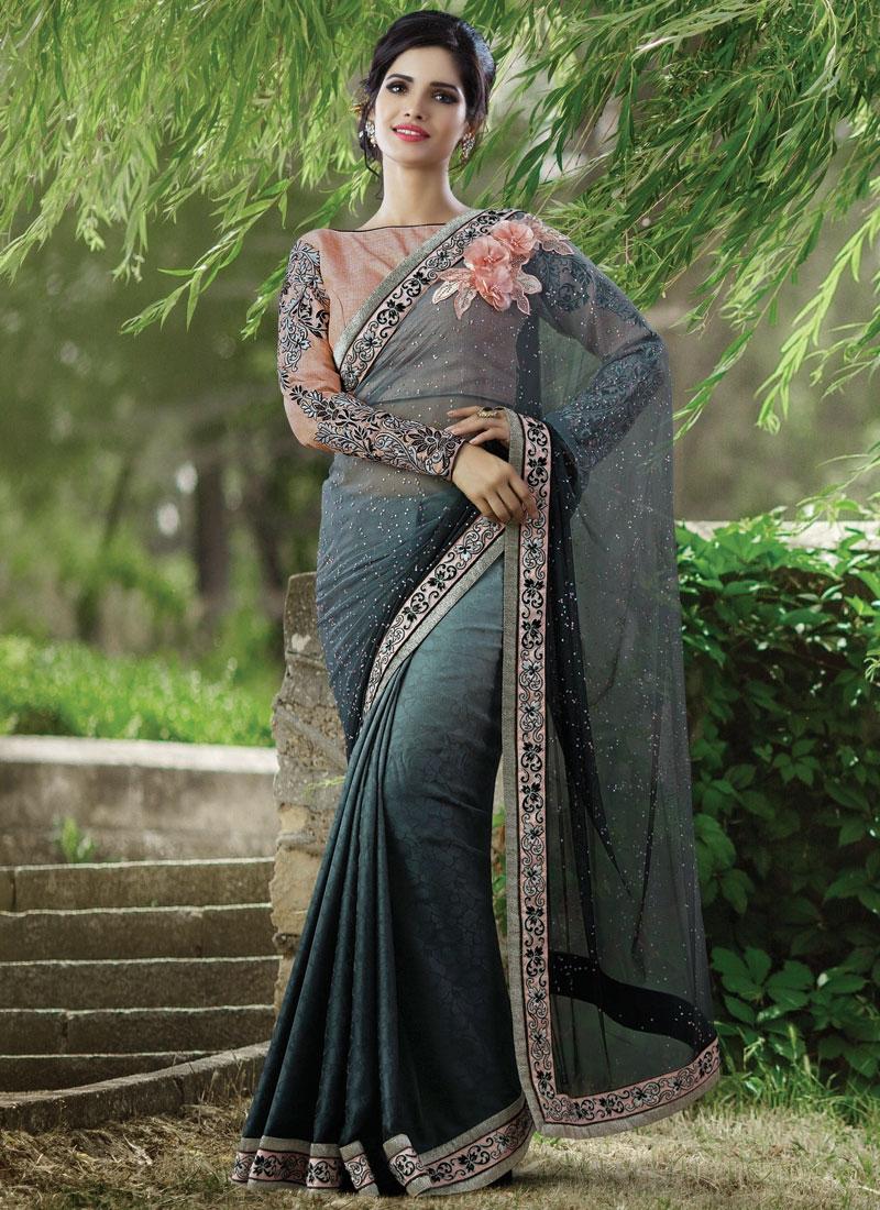 Spellbinding Jacquard Silk And Net Designer Saree