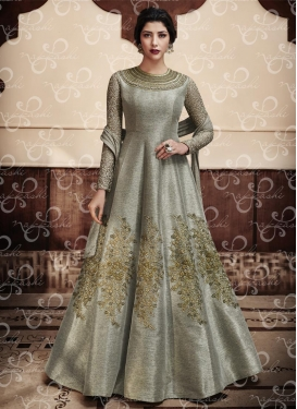 Spellbinding Jute Silk Embroidered Work Floor Length Anarkali Salwar Suit For Festival
