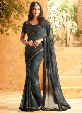 Spellbinding  Lace Work Faux Georgette Black and Grey Contemporary Saree For Ceremonial