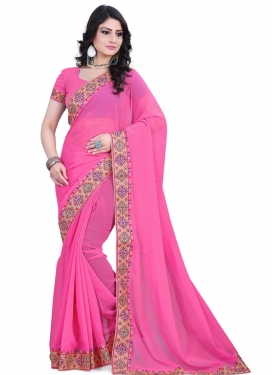 Spellbinding Lace Work Hot Pink Color Casual Saree
