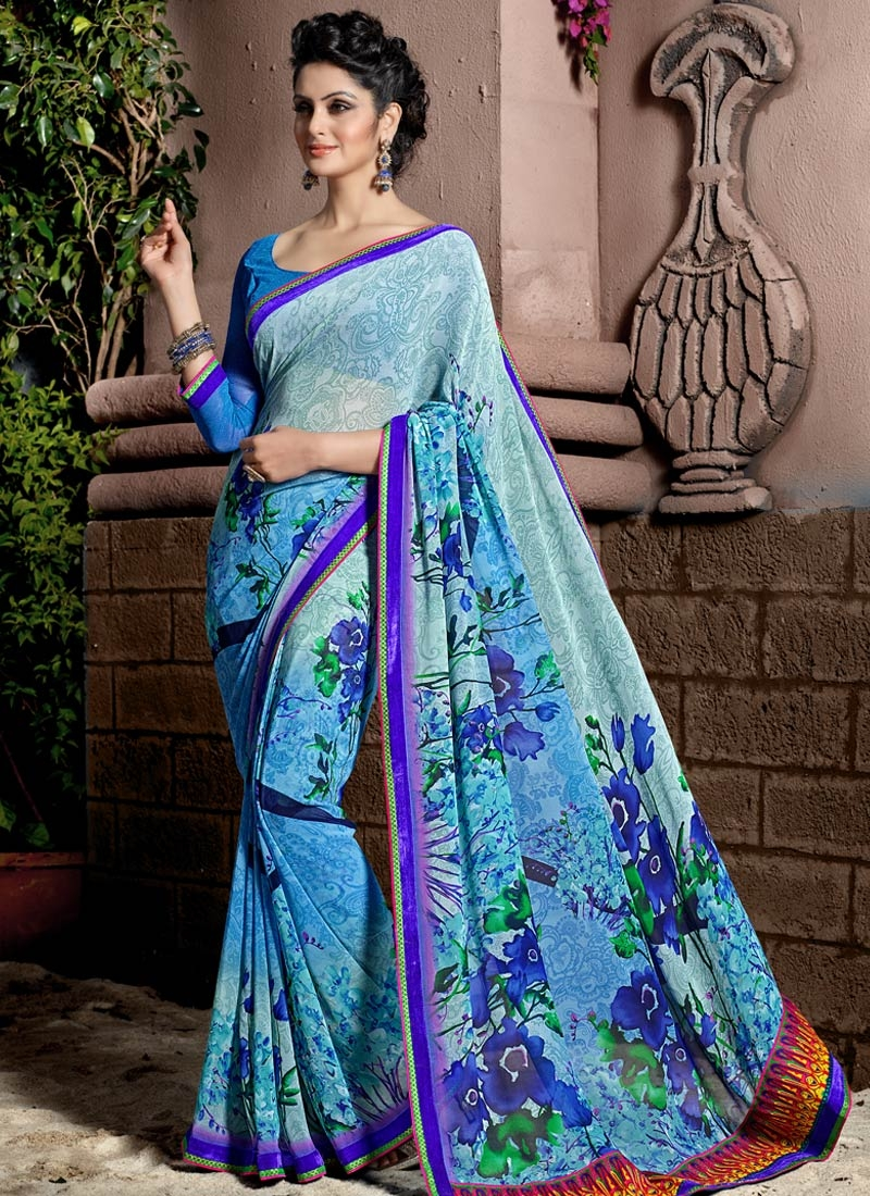 Spellbinding Light Blue Color Lace Work Casual Saree