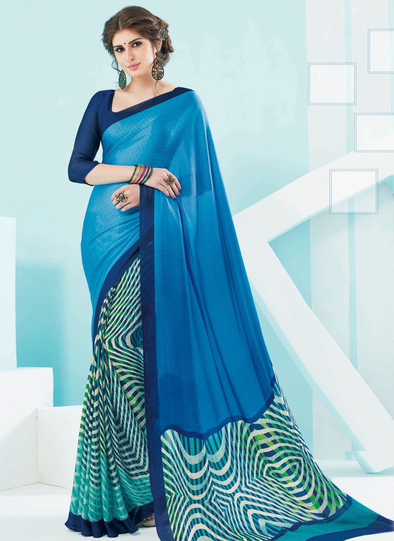 Spellbinding Mint Green And Light Blue Color Casual Saree