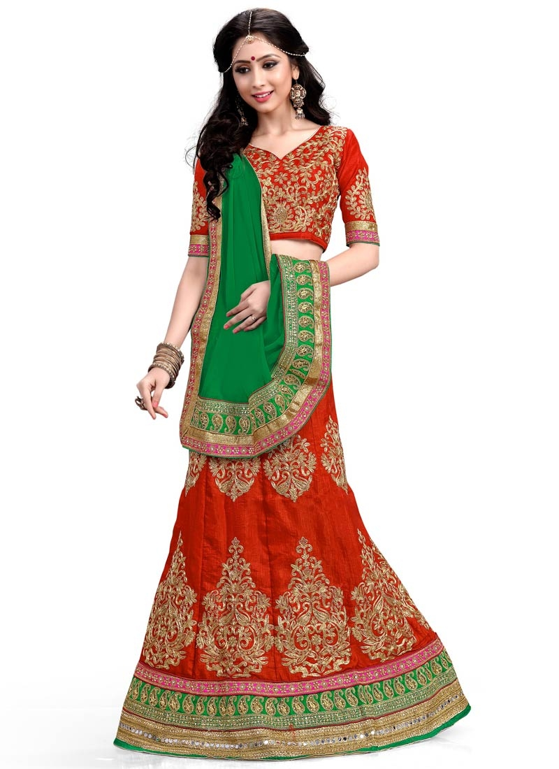 Spellbinding Mirror Work Silk Wedding Lehenga Choli
