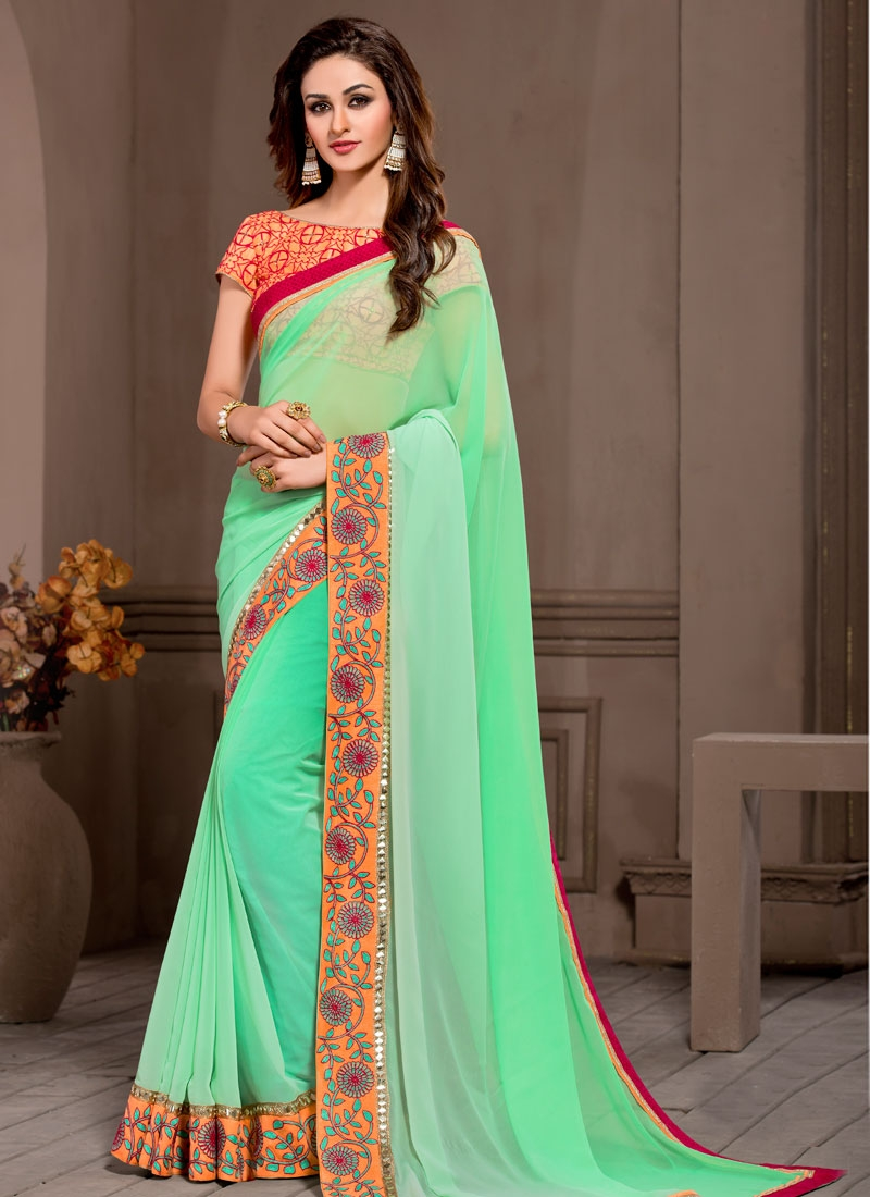 Spellbinding Pure Georgette Resham Work Party Wear Saree