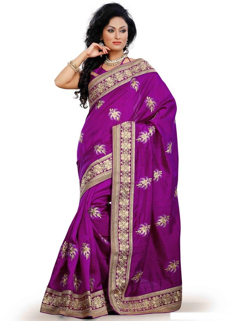 Spellbinding Purple Color Multi Work Party Wear Saree