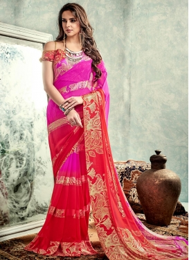Spellbinding Red and Rose Pink  Faux Georgette Contemporary Style Saree