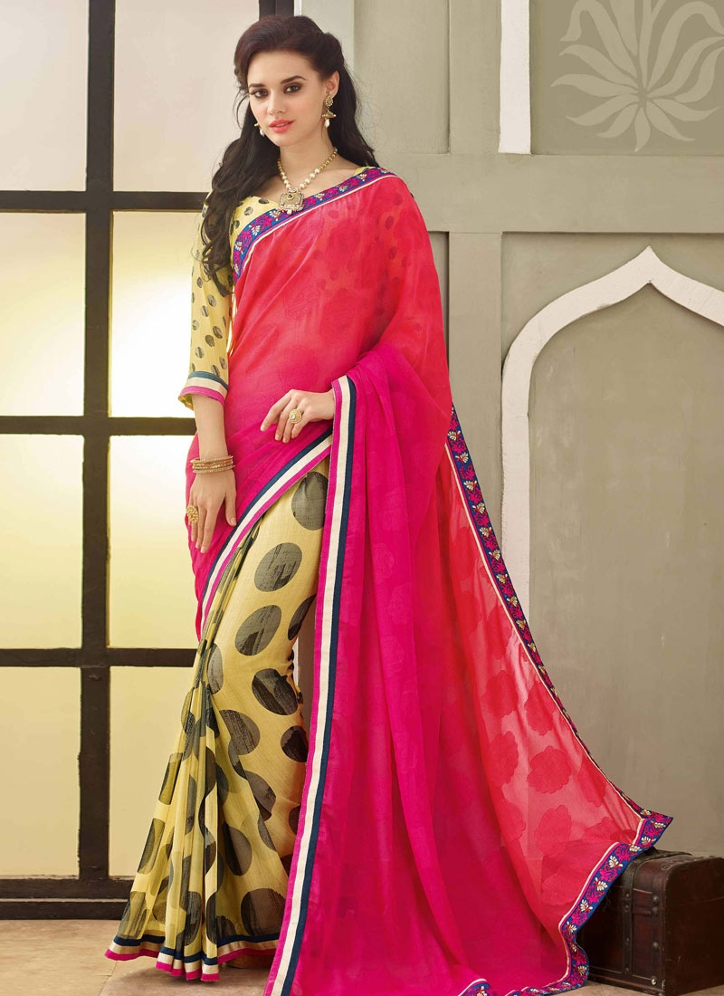 Spellbinding Rose Pink Color Half N Half Party Wear Saree