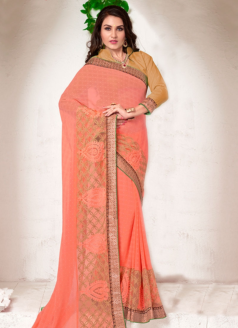 Spellbinding Salmon Color Party Wear Saree